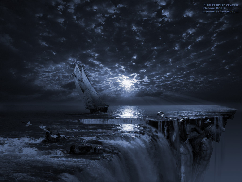 The Flat Earth Society - Final Frontier Voyager 3D wallpaper. Keywords, high sea mist fog waterfall, cliff waterscape seascape, pirats flags, mystery suspense mystic mist romantic dream illusion, sky cloud night unknown sunset, reflection water horizon, sails ship.