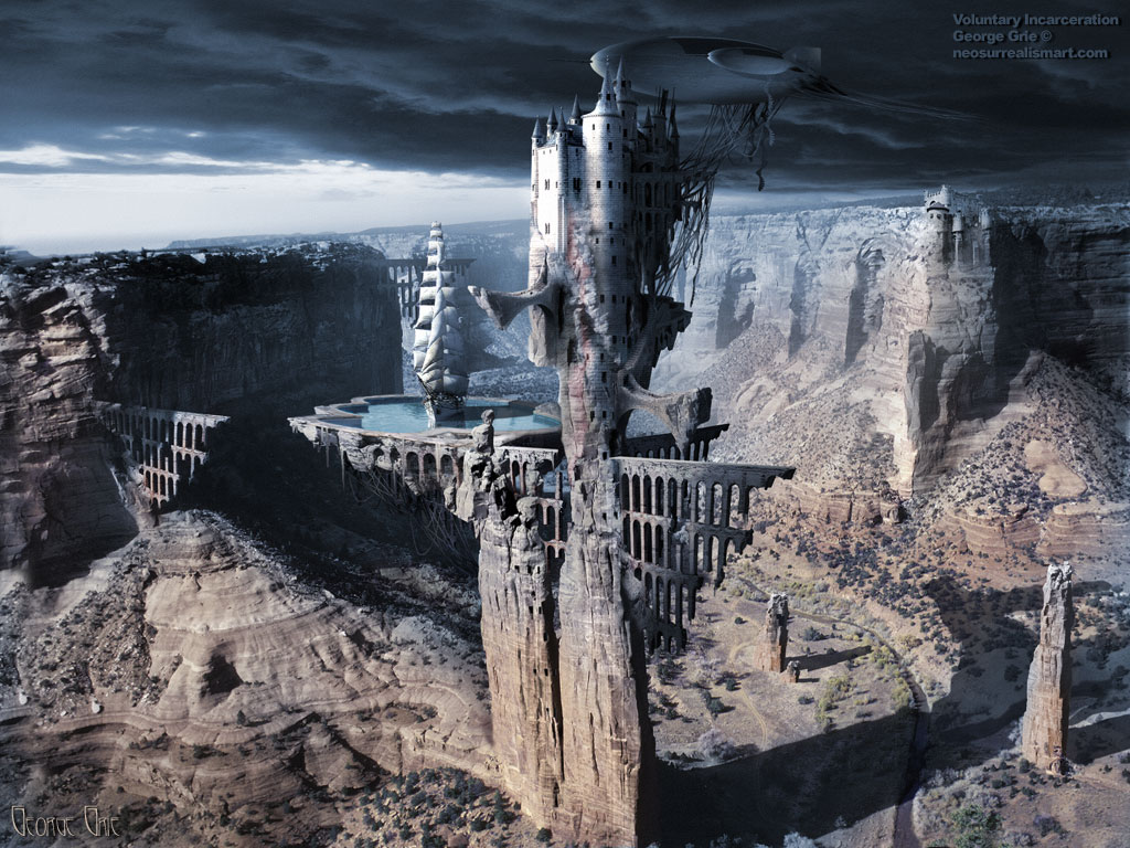White Castle or Voluntary incarceration 3D wallpaper. Keywords, surreal castle, mountain fort, hidden citadel, hilltop bastion, stone, cliff fortress, historical, historic, atop glory stronghold bridges canyon, sail ship nature palace, zeppelin peak, aristocracy, architecture, beauty, monarchy solicitude.