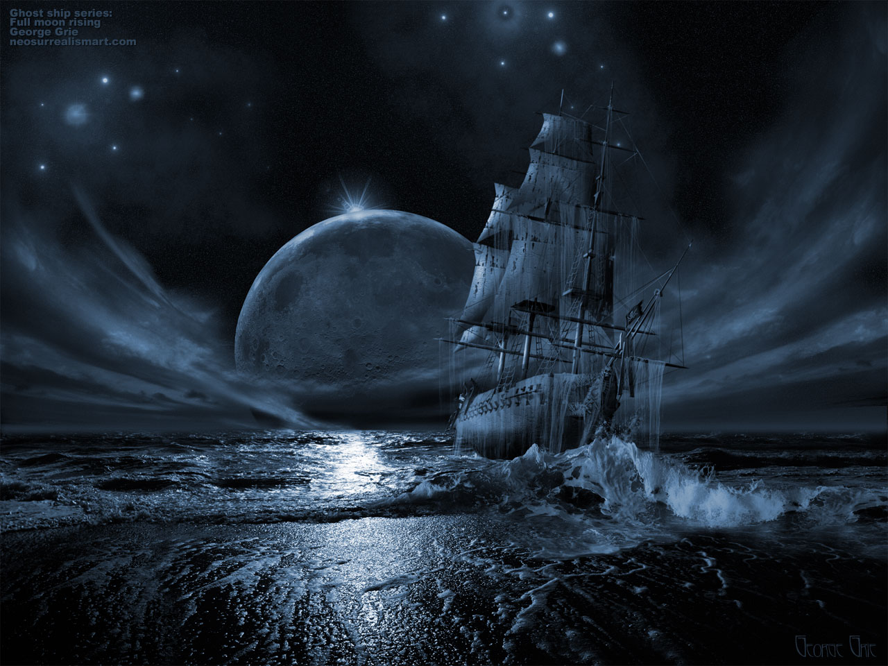 ... 3D artist George Grie: Ghost ship series: Full moon rising 3D