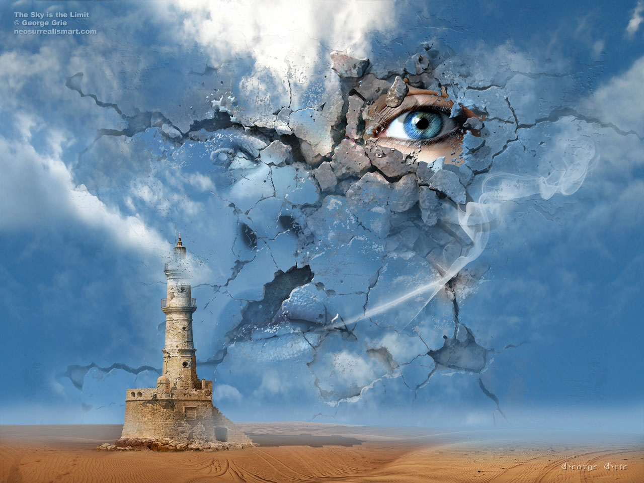 The Sky is the Limit or False Illusions and Imagination ... Modern Surrealism Wallpaper